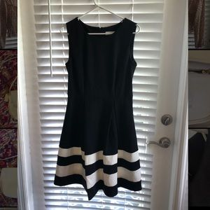 Calvin Klein Fit and Flair Black and White Dress